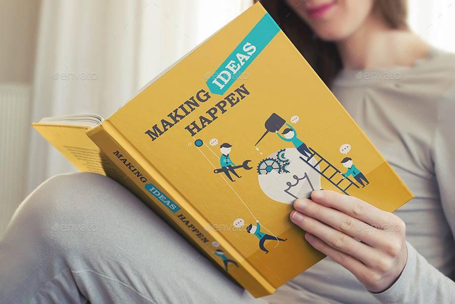 مجموعه موکاپ جلد و پشت جلد کتاب در دست زن