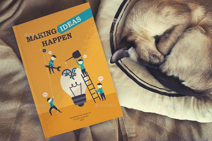 موکاپ جلد کتاب در کنار گربه