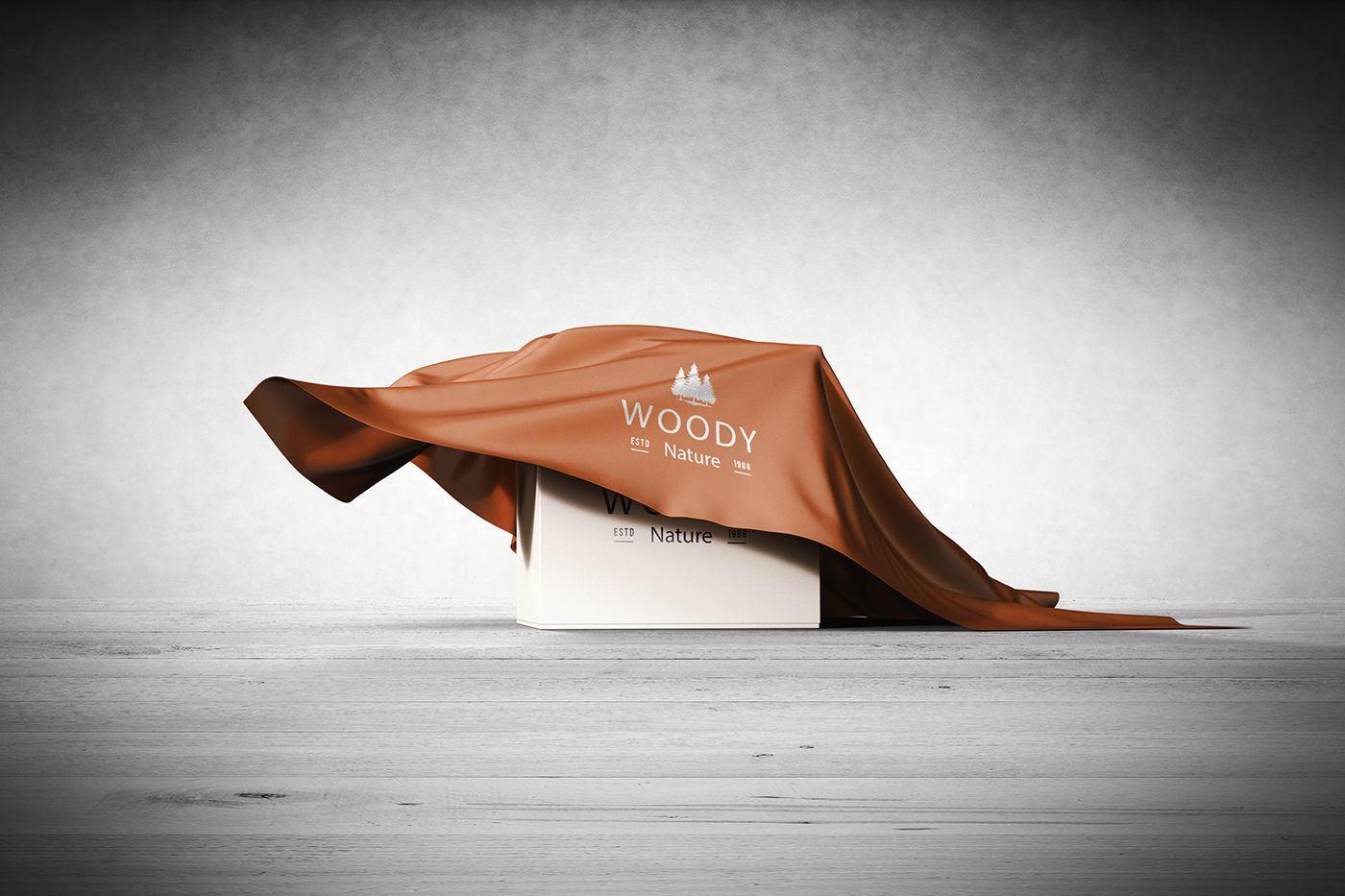 موکاپ جعبه پوشیده شده با پارچه