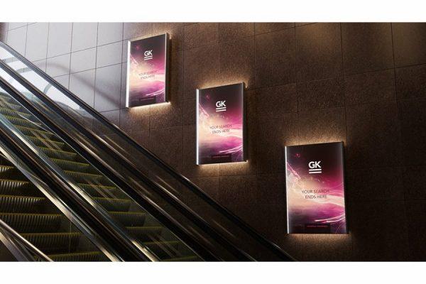 موکاپ تابلوی تبلیغاتی در کنار راه پله
